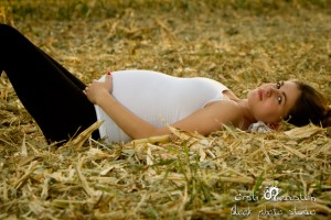 Pregnant woman laying down