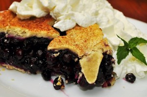 Piece of fruit pie with whipped cream and mint leaves