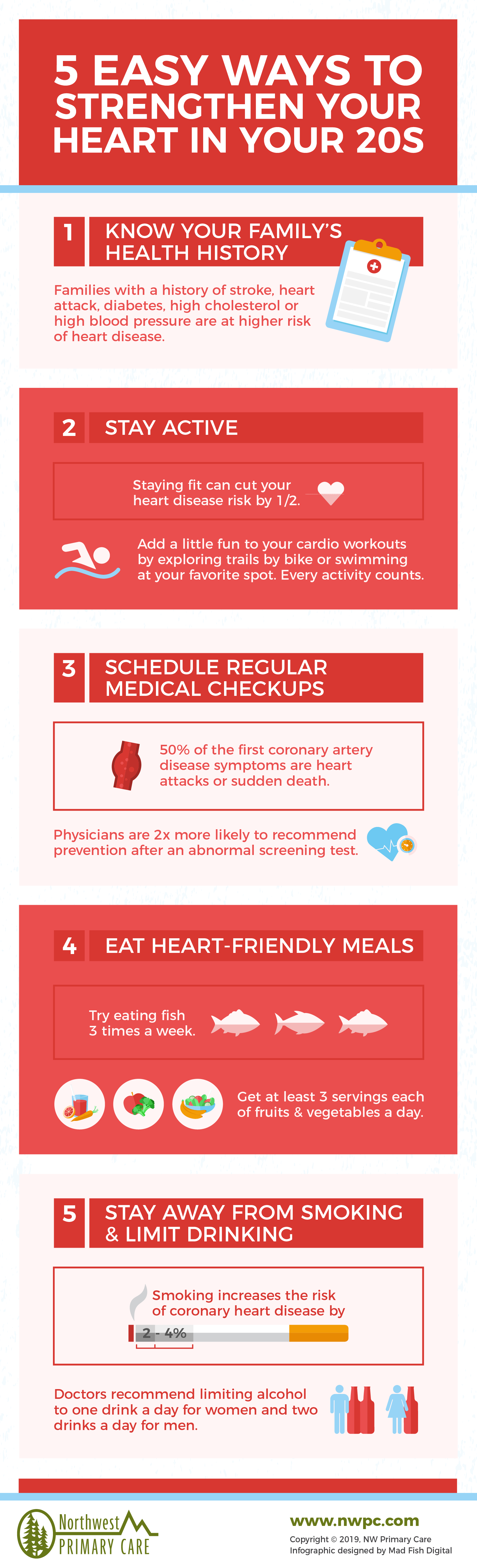 Heart health in your 20s tips infographic